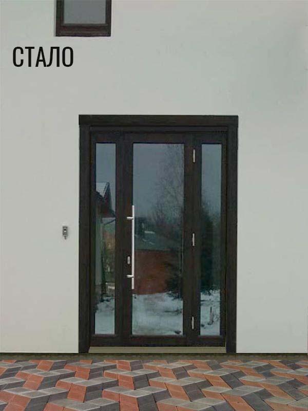входная дверь из лиственницы после облагораживания участка