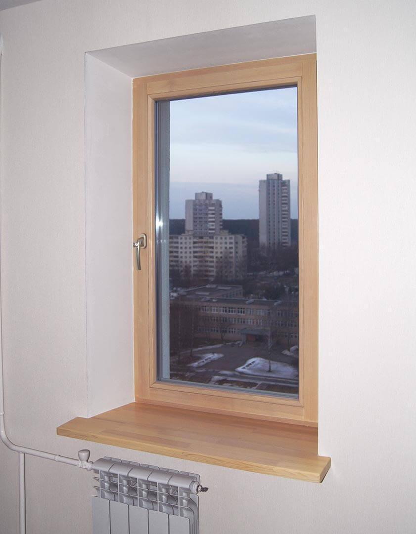 Деревянные одностворчатые поворотно-откидные окна и подоконники в квартире на пр Независимости