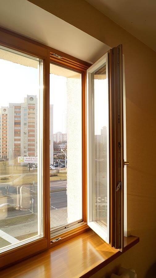 Окна из дерева в квартире на Машерова 2