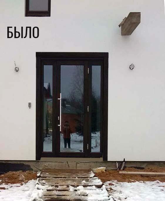 входная двериь до облагораживания участка